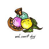 Illustration. Colored balls of ice cream with orange and mint. Stock Photo