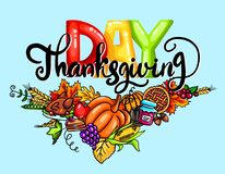Illustration of Colored Lettering thanksgiving day with different leaves and vegetables on blue backdrop.  vector illustration