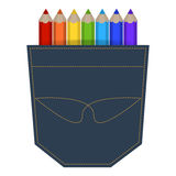 Illustration of colored pencils in a jeans pocket Stock Image