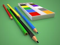 Illustration of colored pencils and paints on a green background. 3D render. Illustration of colored pencils and paint on a green background. 3D rendering Royalty Free Stock Photos