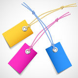 Colorful price tags. Illustration of colored price tags on a white background royalty free illustration