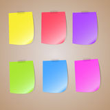 Illustration of a colored set of sticky notes. Colored set of sticky notes, place for text, , illustrations Royalty Free Stock Photos