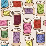 Illustration of colored threads seamless pattern. Sewing equipment - illustration of colored threads seamless pattern Stock Photo