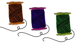Sewing equipment. Illustration of colored threads seamless pattern Stock Images