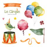 Illustration with colorful air ballons,bird,flag,candy,ribbon banner and more stock photo