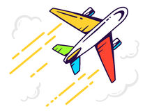 illustration of colorful airplane flying right up among t Royalty Free Stock Image