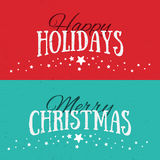 Illustration of colorful banners with Happy Holidays and Merry C. Hristmas lettering. Christmas calligraphy background. Vector banners. Xmas postcards Royalty Free Stock Photo
