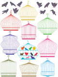 Colorful Birdcage Set_eps vector illustration