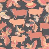 Illustration of birds and pigs royalty free illustration