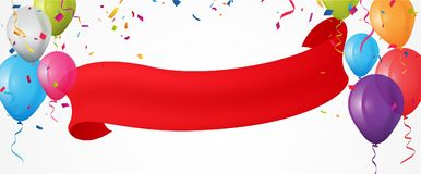 Colorful birthday balloon with bunting flags and confetti Royalty Free Stock Image