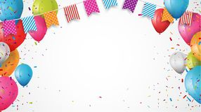 Colorful birthday balloon with bunting flags and confetti vector illustration