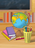 Illustration of colorful book with pencil globe in the school Stock Photo