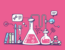 Illustration of colorful chemical laboratory flasks on re Royalty Free Stock Image