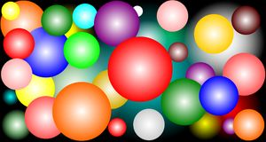 Colorful circles in different colors on black background. Illustration of colorful circles in different colors on a black background Royalty Free Illustration