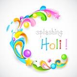 Holi Background. Illustration of colorful color splash and floral in Holi background Stock Images