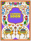 Colorful Coming Soon banner in truck art kitsch style of India. Illustration of colorful Coming Soon banner in truck art kitsch style of India Stock Photos