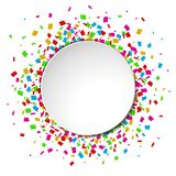 Colorful Confetti round banner with place for text on white background. Illustration of Colorful Confetti round banner with place for text on white background Royalty Free Stock Photo