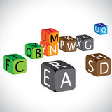 Illustration of colorful cubes of alphabets Stock Image