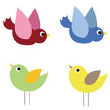 Illustration of colorful cute birds Stock Photo