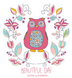 Illustration with colorful decorative owls. Background illustration with colorful decorative owls with flowers and the inscription beautiful day Royalty Free Stock Photo