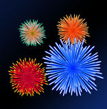Illustration of colorful fireworks . Stock Photography