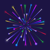 Illustration of colorful fireworks. Colorful multicolor fireworks isolated on blue background Stock Photo