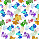 Illustration of colorful fishes on a white background Stock Images