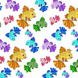 Illustration of colorful fishes on a white background Stock Photos