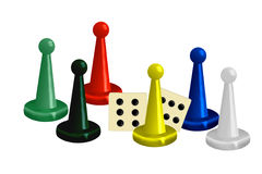 Illustration of Colorful Game Pieces with Dice Royalty Free Stock Photos