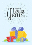Illustration of colorful gift box on white background. Sign Happy New Year 2017.  Royalty Free Stock Photography