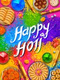 Powder color gulal for Happy Holi Background Stock Photo