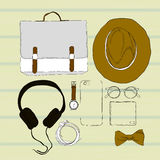 Illustration of colorful Hand drawn and doodle of top view, flat lay with Accessories spectacles, clock, hat, phone Royalty Free Stock Images