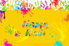 Happy Holi. Illustration of colorful hand print in Happy Holi background royalty free illustration