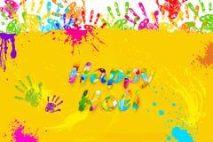 Happy Holi. Illustration of colorful hand print in Happy Holi background Stock Photo