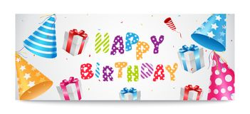 Colorful Happy Birthday Balloons Banner for Party Stock Images