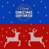 Illustration of colorful knitted banners with Merry Christmas an. D Happy New Year lettering. Christmas calligraphy background. Vector Xmas postcards with deers Stock Photo