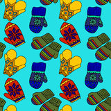 Illustration of colorful mittens. Beautiful winter clothing.  Royalty Free Stock Photo