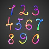 Illustration of colorful numbers on darck basground, vector eps 10 Stock Photography