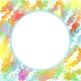 Illustration of Colorful Painted Background with White Circular Area at Center. Illustration of Colorful Painted Splashing Background with White Circular Area at stock illustration
