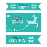 Illustration of colorful paper cards and ribbons. With Happy Holidays and Merry Christmas lettering. Vector banners. Xmas postcards. Knitted norwegian elements Royalty Free Stock Photos