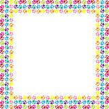 Paw print frame. Illustration of colorful paw prints frame on a white background Royalty Free Stock Photos