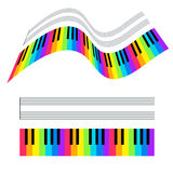 Illustration of colorful piano keys and stave. Vector illustration of colorful piano keys and stave Stock Images