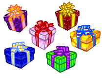 The illustration of colorful present boxes. Stock Photos