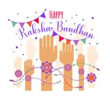 Illustration of colorful rakhi tied on hand in Raksha Bandhan. Illustration of colorful rakhi on hand in Raksha Bandhan Stock Illustration