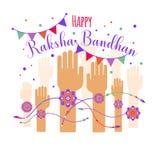 Illustration of colorful rakhi tied on hand in Raksha Bandhan. Illustration of colorful rakhi on hand in Raksha Bandhan Stock Photos