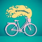 Illustration of colorful retro bicycle with basket stock photography