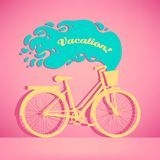 Illustration of colorful retro bicycle with basket royalty free stock photos