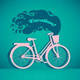 Illustration of colorful retro bicycle with basket stock photos