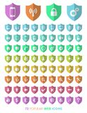 Shield icons. An illustration of a colorful set of different shield icons on a white background stock illustration