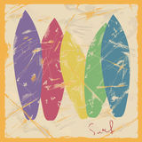 Illustration of colorful surfboards Royalty Free Stock Photography